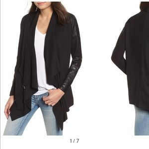 Blank NYC drape front faux leather jacket